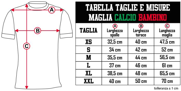 tabella taglie e misure   CALCIO   BAMBINO IT Zero9Sport