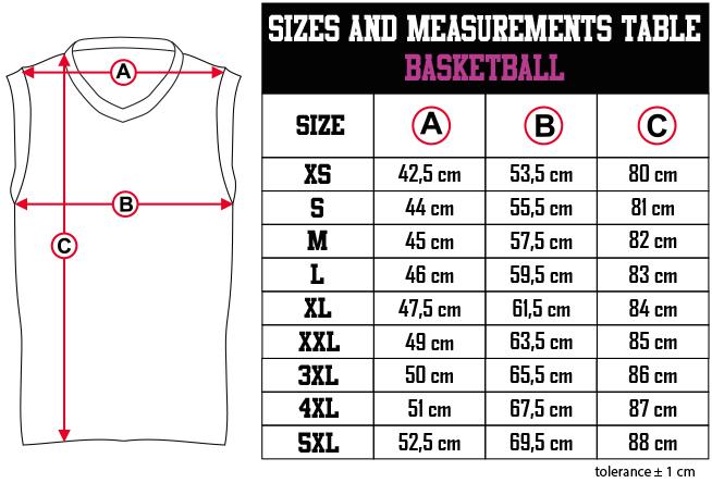 sizes and measurements   BASKETBALL EN Zero9Sport
