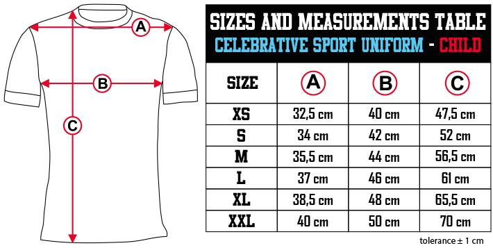 sizes and measurements   CELEBRATIVE SPORT UNIFORM   CHILD EN Zero9Sport