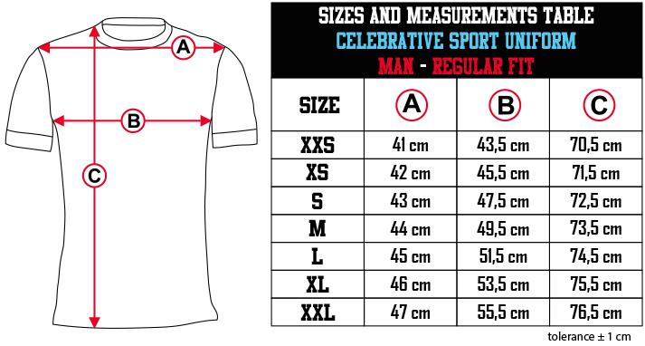 sizes and measurements   CELEBRATIVE SPORT UNIFORM   MAN   REGULAR FIT EN Zero9Sport