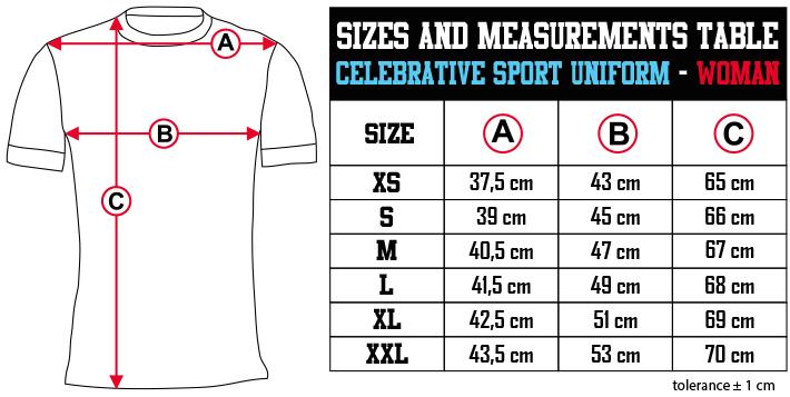 sizes and measurements   CELEBRATIVE SPORT UNIFORM   WOMAN EN Zero9Sport