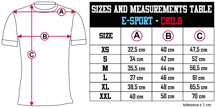 sizes and measurements   E SPORT   CHILD EN Zero9Sport