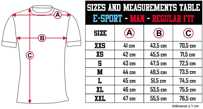 sizes and measurements   E SPORT   MAN   REGULAR FIT EN Zero9Sport