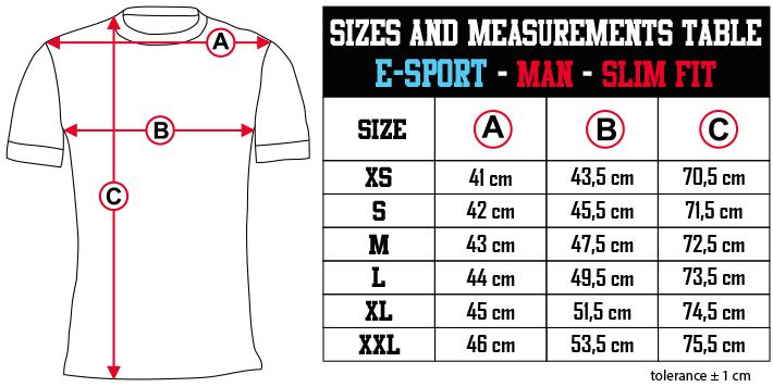 sizes and measurements   E SPORT   MAN   SLIM FIT EN Zero9Sport