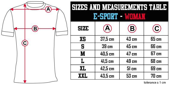 sizes and measurements   E SPORT   WOMAN EN Zero9Sport