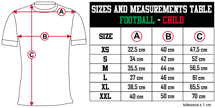 sizes and measurements   FOOTBALL   CHILD EN Zero9Sport