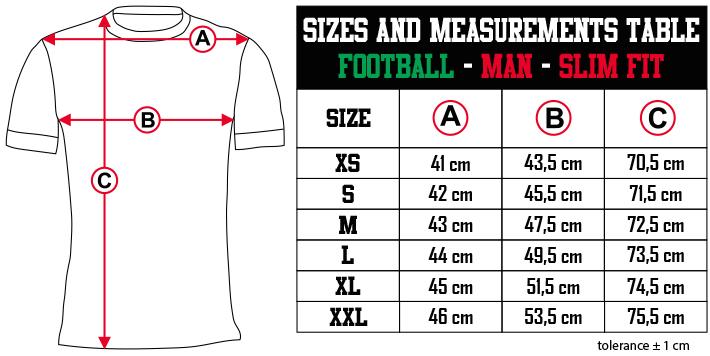 sizes and measurements   FOOTBALL   MAN   REGULAR FIT EN Zero9Sport