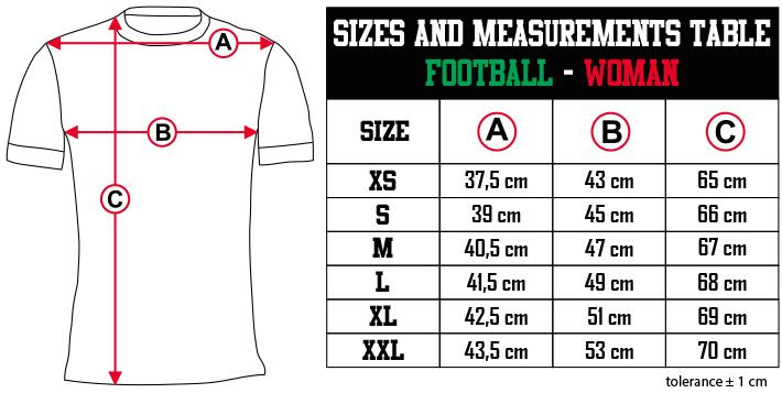 sizes and measurements   FOOTBALL   WOMAN EN Zero9Sport