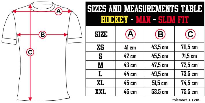 sizes and measurements   HOCKEY   MAN   SLIM FIT EN Zero9Sport