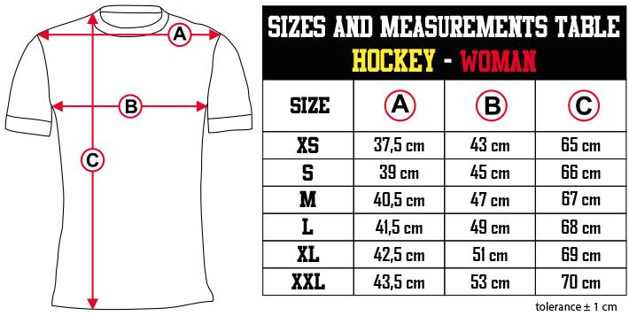 sizes and measurements   HOCKEY   WOMAN EN Zero9Sport