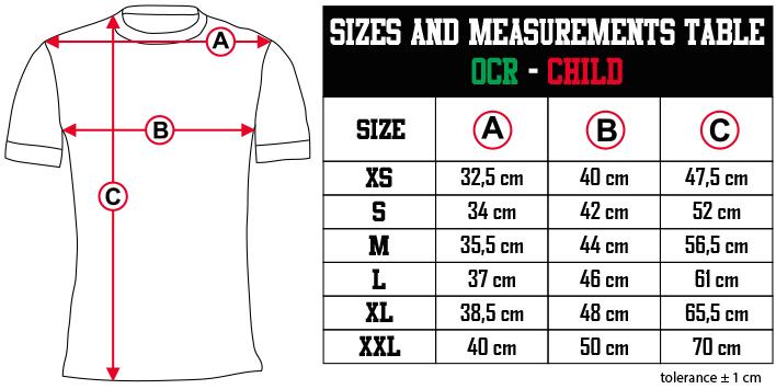 sizes and measurements   OCR   CHILD EN Zero9Sport