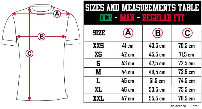 sizes and measurements   OCR   MAN   REGULAR FIT EN Zero9Sport