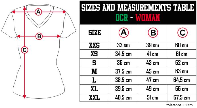 sizes and measurements   OCR   WOMAN EN Zero9Sport