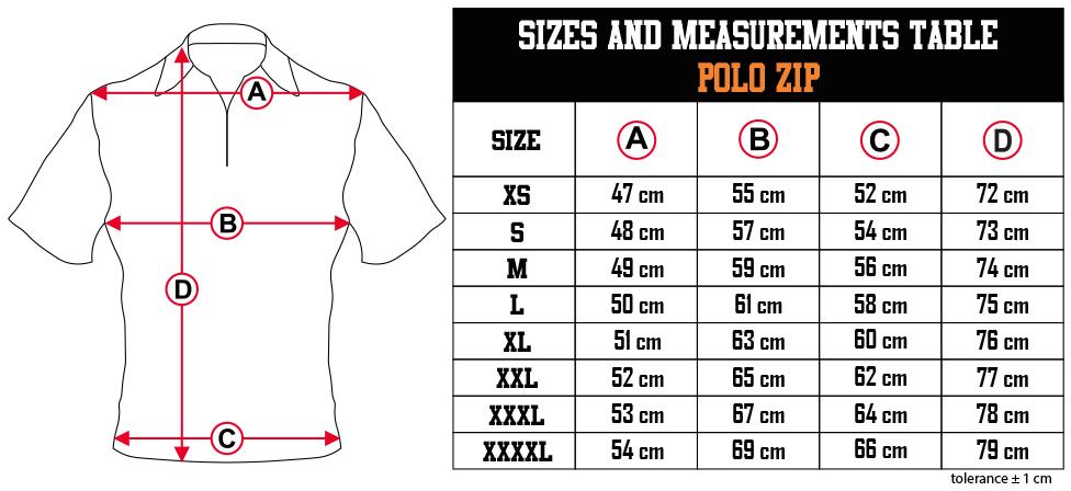 sizes and measurements   POLO ZIP EN Zero9Sport
