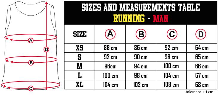 sizes and measurements   RUNNING   MAN EN Zero9Sport