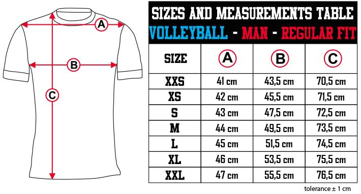 sizes and measurements   VOLLEYBALL   MAN   REGULAR FIT EN Zero9Sport