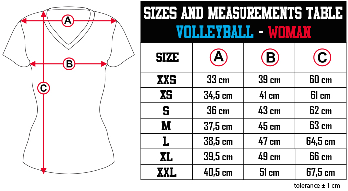 sizes and measurements   VOLLEYBALL   WOMAN EN Zero9Sport