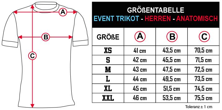 gr    entabelle   EVENT TRIKOT   HERREN   ANATOMISCH DE Zero9Sport